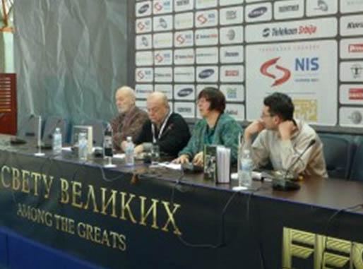 Promocija knjige Lorejn Mortimer na FESTU 25. februara 2011.          Učesnici: Dušan Makavejev, Mladen Popović, Milena Dragićević Šešić i Dragan Jovićević