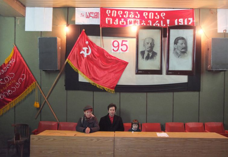 Sezgin with Minna and Roza in Russian Social Democratic Labour Party (RSDRP) Underground Printing House Museum in Tbilisi. Photo by Soso.